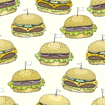Vector seamless pattern with burgers.