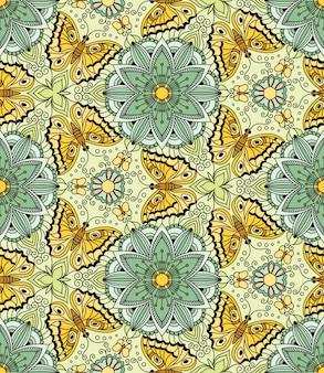 Бесшовный узор вектор с бабочками и цветами