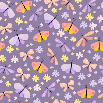 Vector seamless pattern with butterflies and beetles