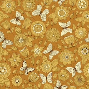 Vector seamless pattern with butterflies flying over the flowers