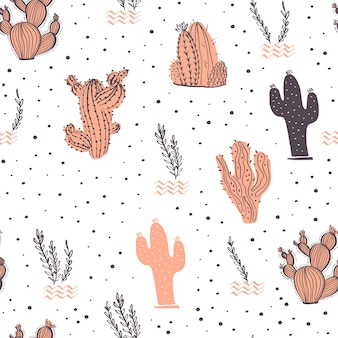 Vector seamless pattern with cactus, branches, floral & abstract elements isolated on white background. hand drawn sketch style. good for packaging, tag, card, wedding & nursery decor etc.