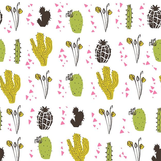 선인장, 가지, 꽃 및 추상 요소 흰색 배경에 고립 된 벡터 완벽 한 패턴입니다. 손으로 그린 스케치 스타일. 포장, 태그, 카드, 결혼식 및 보육 장식 등에 좋습니다.