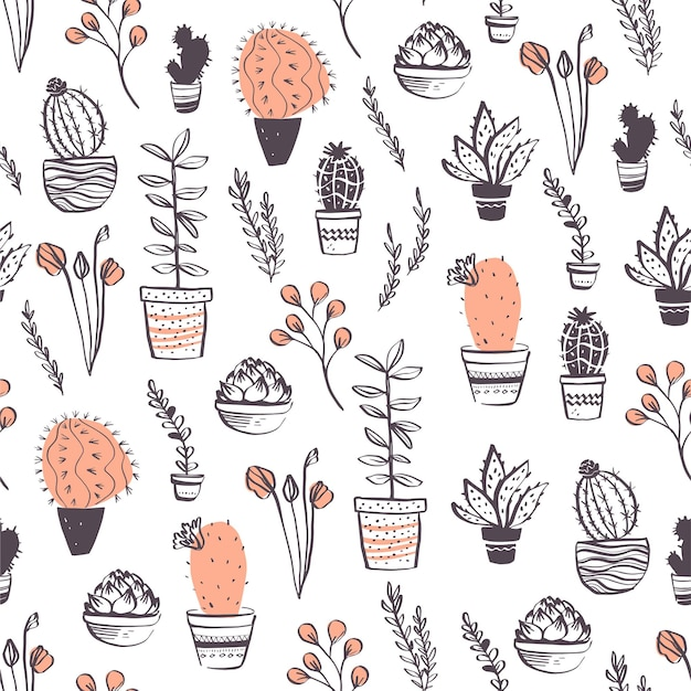Vector seamless pattern with cactus, succulent, aloe, branches, floral elements arrangements isolated on white background. hand drawn sketch style. good for packaging, tag, card, wedding decor etc.