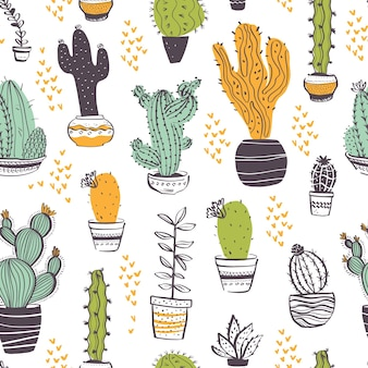 Vector seamless pattern with cactus, succulent, aloe, branches, floral elements isolated on white background. hand drawn sketch style. good for packaging, tag, card, wedding & nursery decor etc.