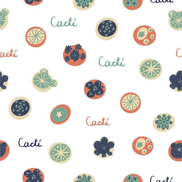 サボテンの上面図とシームレスなパターンをベクトルします。落ち着いたアースカラーの漫画フラットスタイルの背景