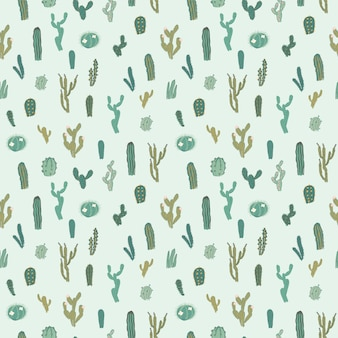 Vector seamless pattern with cactus.