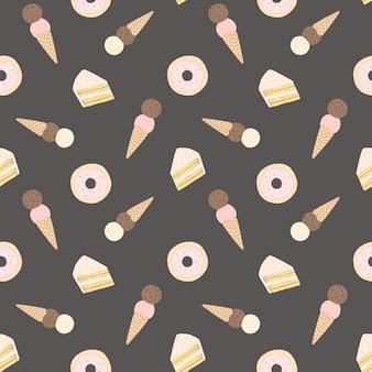 Бесшовный узор вектор с пирожными, пончики и мороженое.