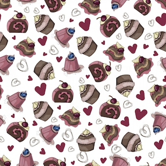 Vector seamless pattern with cakes