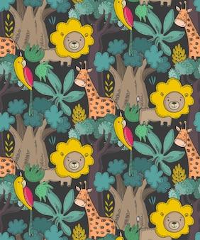漫画のアフリカの動物のジャングルの植物や木とシームレスなパターンをベクトルします。