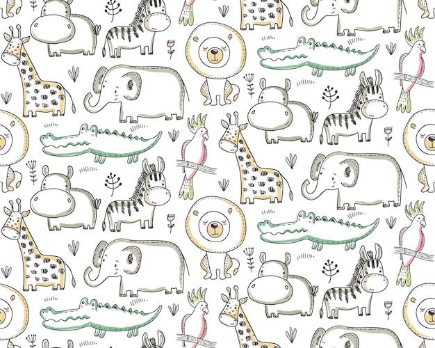 만화 아프리카 동물 정글 식물과 나무와 벡터 원활한 패턴