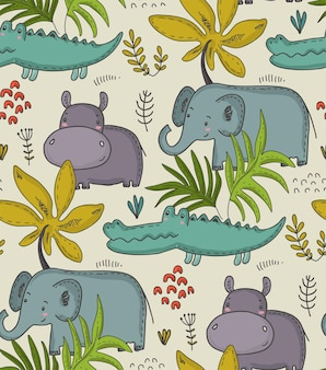 Vector seamless pattern with cartoon african animals jungle plants and trees