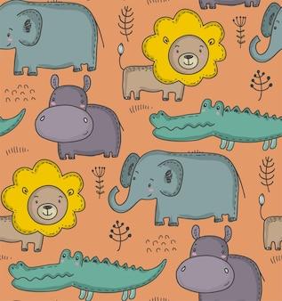 만화 아프리카 동물 벡터 원활한 패턴