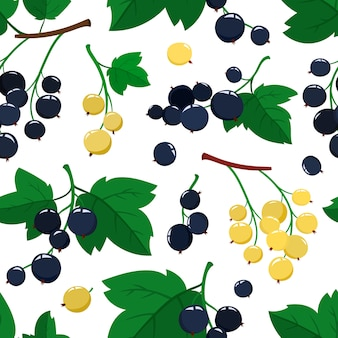 Vector seamless pattern with cartoon black and white currant berries with green leaves