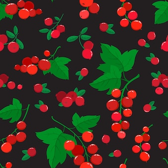 Бесшовный узор вектор с мультфильм клюквы и смородины, изолированные на черном. ветка ярких ягод. иллюстрация, используемая для журнала, книги, плаката, открытки, обложки меню, веб-страниц.