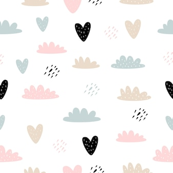 Vector seamless pattern with cartoon cute clouds hearts for kids