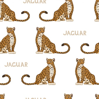 Vector seamless pattern with cartoon jaguars. colored