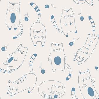 漫画の子猫とのベクトルのシームレスなパターンスケッチスタイルでかわいい猫を手で描く
