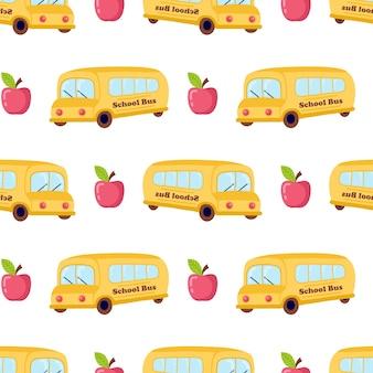 만화 학교 버스와 벡터 완벽 한 패턴입니다.