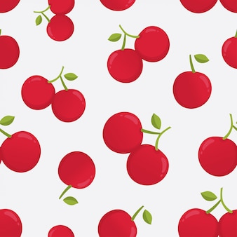 Vector seamless pattern with cherry berries