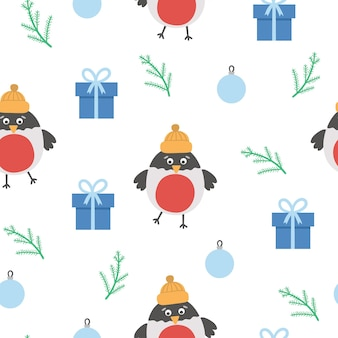 Vector seamless pattern with christmas elements. cute simple funny flat style new year repeating background with bullfinch, colored ball, present.