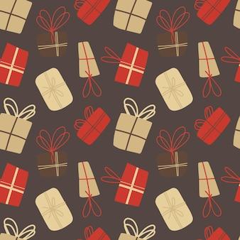 クリスマスプレゼントとシームレスなパターンをベクトルします。