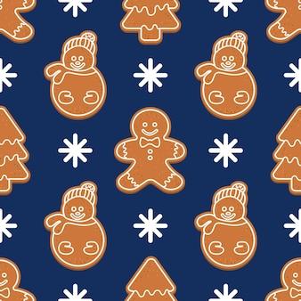 Бесшовный узор вектор с рождественские пряники человечки рождественские елки снеговики