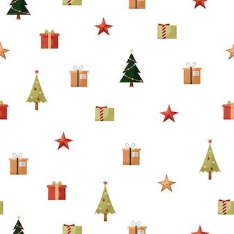 クリスマスのアイコンとシームレスなパターンをベクトルします。新年の背景
