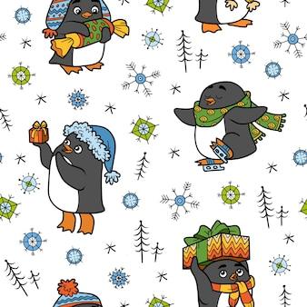 흰색 바탕에 크리스마스 펭귄 벡터 원활한 패턴