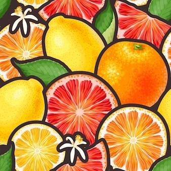 柑橘系の果物とシームレスなパターンをベクトルします。