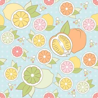 柑橘類とのベクトルのシームレスなパターン