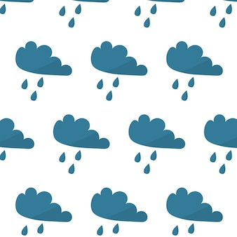 Vector seamless pattern with cloud and raindrops