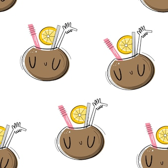 Vector seamless pattern with cocktail in coconut. flat, doodle style