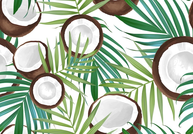 Vector seamless pattern with coconut. tropical exotic fruits.