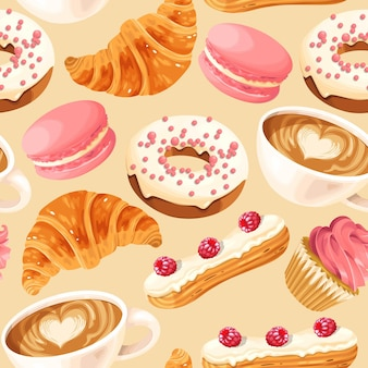 Бесшовный узор вектор с кофейными чашками и французскими сладостями