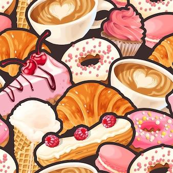 コーヒーカップとフランスのお菓子とシームレスなパターンをベクトルします。