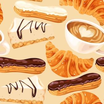 Вектор бесшовный образец с кофейными чашками, эклерами, чизкейками и круассанами