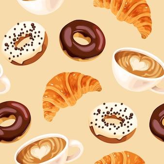 Бесшовный узор вектор с кофейными чашками разноцветными глазированными пончиками и круассанами