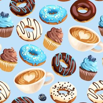 커피 컵 varicoloured 글레이즈 도넛과 컵 케이크와 벡터 원활한 패턴