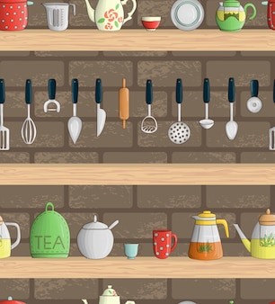 Vector seamless pattern with colored kitchen tools on shelves