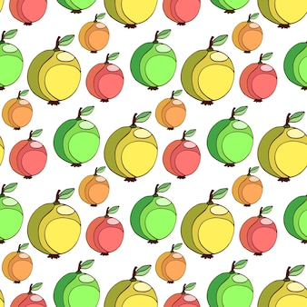 Vector seamless pattern with colorful apples. fruits stylized background. apple wallpaper.