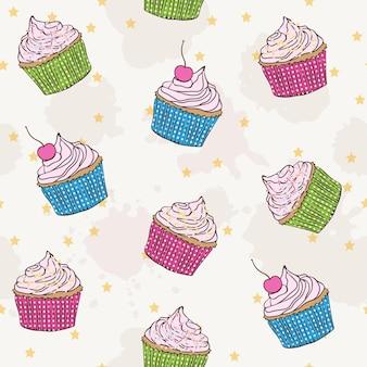 다채로운 컵 케이크 생일 포장지와 벡터 원활한 패턴
