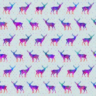 다채로운 deers와 폴카 도트 벡터 원활한 패턴