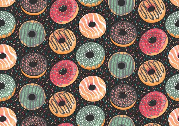カラフルなドーナツとシームレスなパターンをベクトルします。