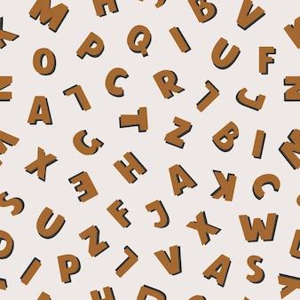 Бесшовный узор вектор с красочным английским алфавитом в плоском стиле на пастельном фоне