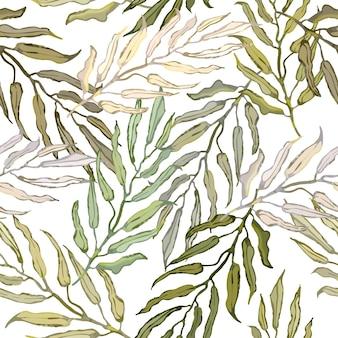 열 대 야자수 잎의 다채로운 일러스트와 함께 벡터 원활한 패턴
