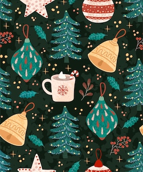 Vector seamless pattern with colorful illustrations of christmas items
