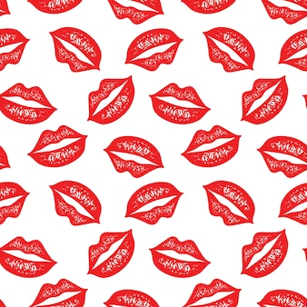 Vector seamless pattern with colorful lips.