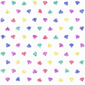 Vector seamless pattern with colorful precious gems on white background