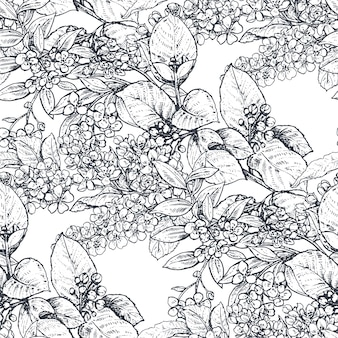 Vector seamless pattern with compositions of hand drawn flowers, blooming tree branches. beautiful black and white sketched floral endless background.