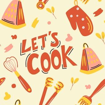 Бесшовный узор вектор с кухонной утварью давайте готовить кухонный прибор